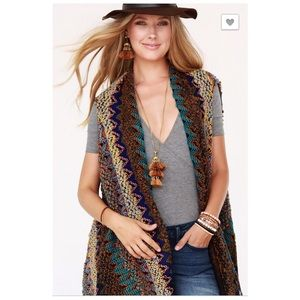 Boho Knit Boucle Vest with Tassel Accent Acrylic